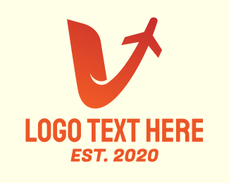 Flight School - Red Airplane V logo design