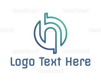 Cyber - Outline H Tech logo design