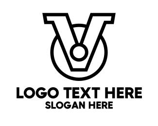 Black - Black V Medallion logo design