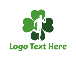 Cross Country - Lucky Run Four Leaf Clover logo design
