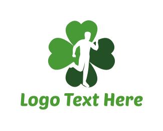 Running - Lucky Run Four Leaf Clover logo design