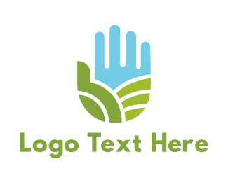 Rice Field - Green Thumb Palm logo design