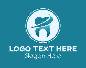 Tooth Whitening - Shiny Dental Tooth logo design