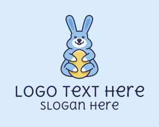 Cartoon - Easter Bunny Hug logo design