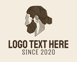 Model - Man Bun Barbershop logo design