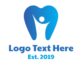 Person - Blue Dental Person logo design