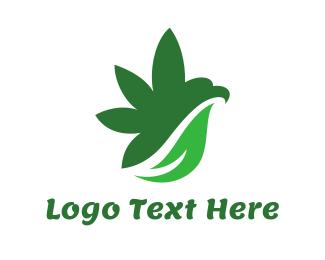 Cannabis Leaf - Cannabis Bird Wing logo design