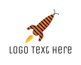 Ufo - Rocket & Bee logo design