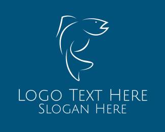 Line Art - White Fish Line Art logo design