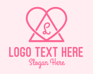 Triangular - Pink Triangular Heart logo design