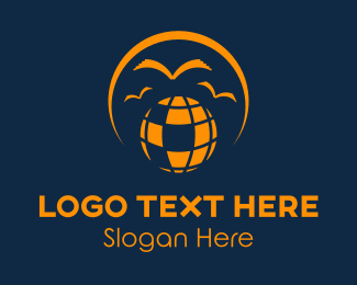 Language - Globe & Birds logo design