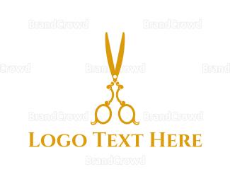 Barber Shop - Gold Scissors logo design