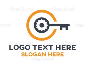 Key - Cog Key C logo design