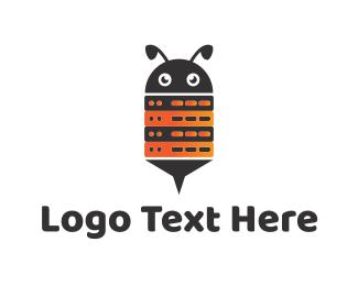 Honeybee - Bee Robot Computer Server logo design