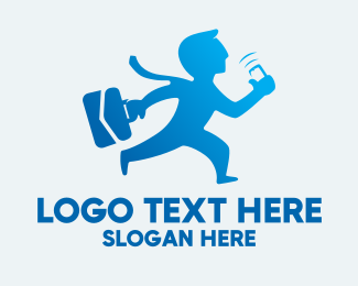 Recruitment - Blue Busy Businessman  logo design