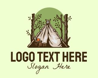 Camper - Rustic Forest Camper  logo design