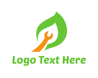 Reparation - Wrench Leaf logo design