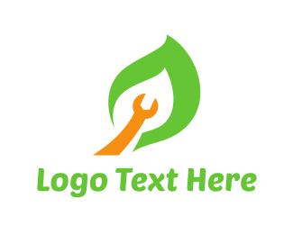 Wrench - Wrench Leaf logo design