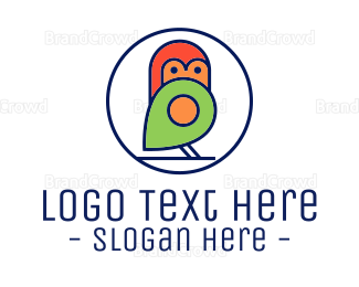 Small - Cute Little Bird Locator logo design