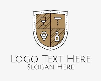 Restaurant - Wine Business Shield logo design