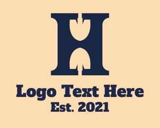 Dig - Letter H Shovel logo design