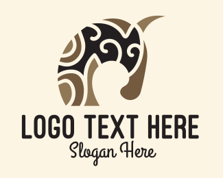 Caveman - Tribal Primitive Horse logo design