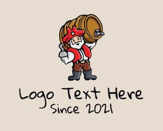 Barrel Maker - Pirate Beer Barrel  logo design