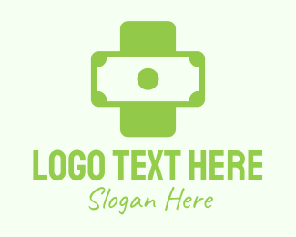 Dollar Sign - Green Medical Money Bill logo design