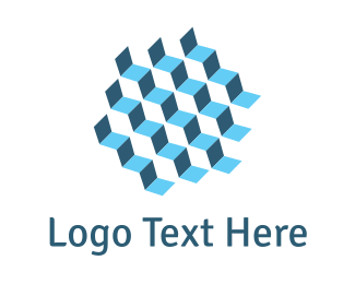Internet Web Blue Cube Steps logo design