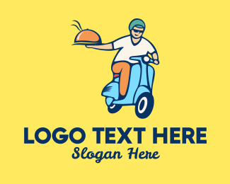 Take Out - Scooter Food Delivery Man  logo design