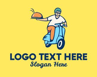 Man - Scooter Food Delivery Man logo design