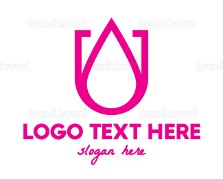 Liquid - Pink U Droplet logo design