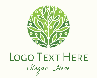 Family - Green Flowering Tree logo design