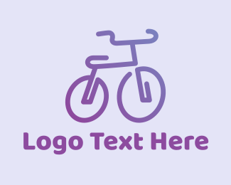 Professional Biker - Purple Bicycle  logo design