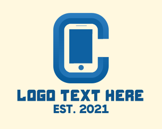 Blue Phone - Mobile Phone Letter C logo design