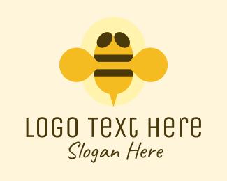 Bee Keeper - Flying Yellow Bumblebee logo design