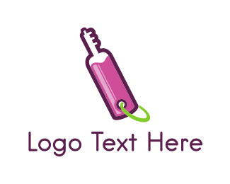 Purple Wine - Key Bottle logo design