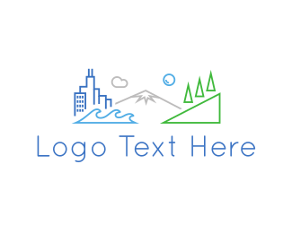 Downtown - City Outlines logo design