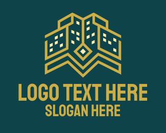 Gold Building - Golden Tower Building logo design