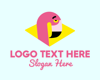 Flamingo - Sleepy Flamingo logo design
