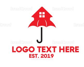 Umbrella - Red House Umbrella logo design