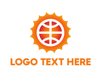 Sun Basketball Ball Logo