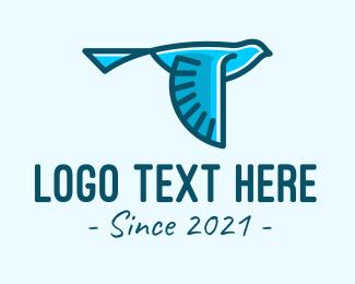 Birdwatching - Blue Canary Bird logo design