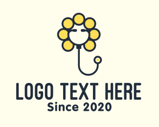 Yellow Flower - Yellow Sunflower Stethoscope logo design