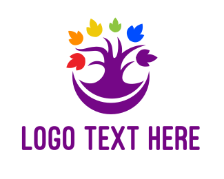 Gay - Colorful Purple Tree logo design