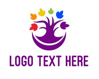 Pride - Colorful Purple Tree logo design