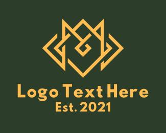M -  Yellow Monoline Letter M logo design