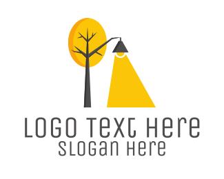 Tree - Landscape Tree Lamp logo design