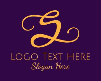 Typography - Golden Script Letter S logo design