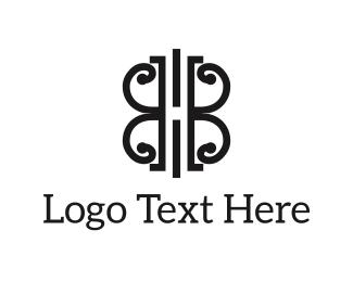 Uk - Abstract B&W Shape logo design